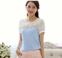 New 2014 women Summer Chiffon Blouse beaded patchwork korea Fashion Lace Blouse loose plus size casual dress blusas femininas