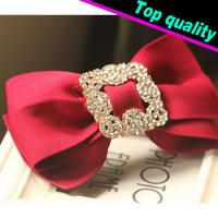 Free Shipping 2014 New Korean Vintage Alloy Rhinestone Fabric Bow Spring Clip Hair Clip For Women Fashion Barrettes Female