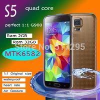 DHL free waterproof perfect s5 1:1 HDC i9600 s5 MTK6582 quad Core 2G ram 32G rom Fingerprint 1920x1080 5.1 inch 3G Phone GPS