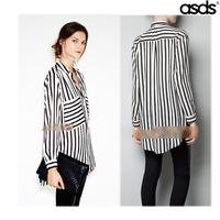 2014 European and American women's large pocket Vertical striped shirt Loose ladies chiffon blouse blusas femininas women tops
