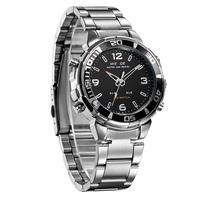 WEIDE watches men luxury brand Military Sports Quartz Watch Digital led relogio masculino full stainless steel men wristwatch