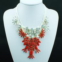 NEW 2014 Wholesale choker bib shourouk statement bib necklaces fashion design chunky crystal pendant Luxury Necklace for women