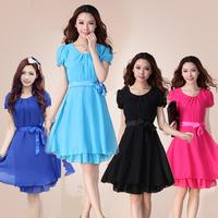 New 2014 Fashion Elegant High Quality Women's Chiffon Dress Summer Spring Short Sleeve O-Neck Solid Lace Plus Size Casual Dress