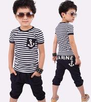 New fashion boy girl children set summer navy stripe clothing t shirt+harem pants child leisure suit kids summer set 2-9y baby