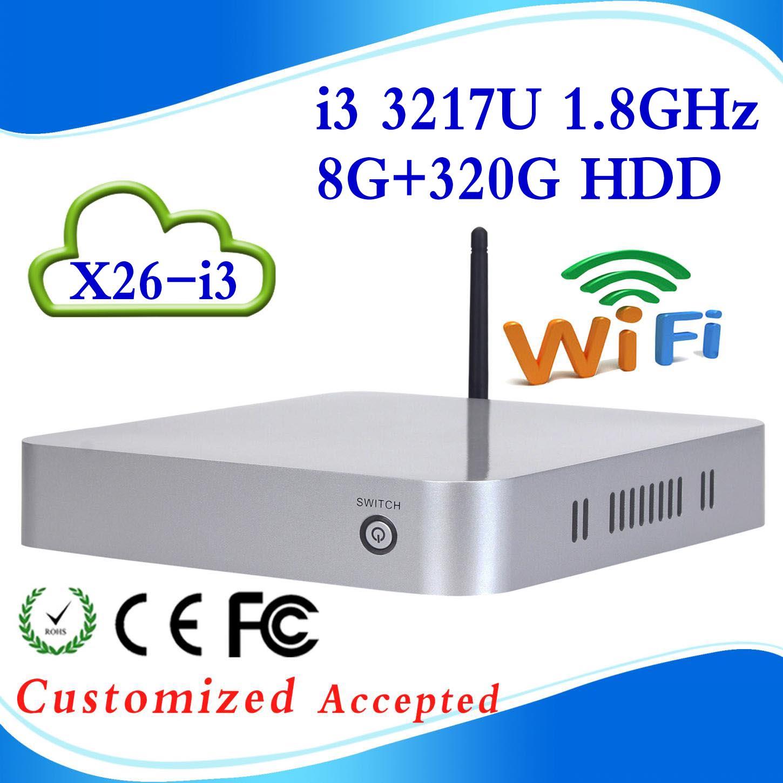 mini itx mini windows pc mini pc intel X26-I3 3217U 8G RAM 320G HDD dual core living room HTPC Mini- PC with USB HDMI(China (Mainland))