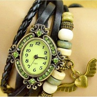 100pcs/lot Angel Heart Vintage Watch Bronze women Casual Watches love Hollow carved Leather Strap Analog Ladies Quartz watches