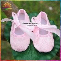 4 size pink 2014 Girls baby shoes,antiskid Lace soft sole zapatos bebe,silk ribbon Fashion baby prewalker #2X0077 4 pair/lot