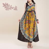 [ LYNETTE'S CHINOISERIE - Sang ] Summer Women National Trend Floral Print High Waist O-neck Sleeveless Tank Cotton Long Dress