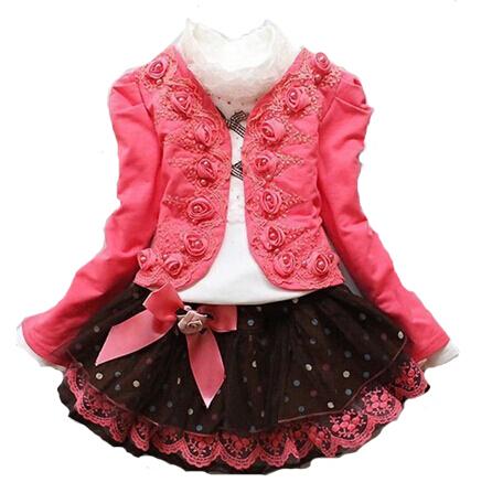 New 2014 baby girl 3pcs children clothing set princess rose flower suit+lace shirt+bow tutu party dress suits kids wear costume(China (Mainland))