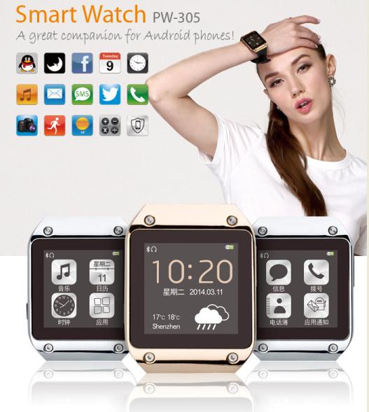 """2014 neues produkt bluetooth Smart Watch mtk6250 1,54"""" screem Verbindung mit android smartphone per bluetooth versandkostenfrei"""