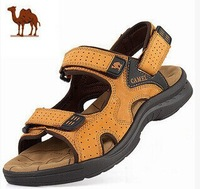 2014 Free Shipping Camel Mens Sandals Slippers Genuine Leather Cowhide Sandals Outdoor Casual Men Leather Sandals For Men 38-44