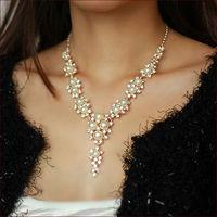 New 2014 Pearl Necklace Banquet Wedding Dress Jewel Gold Rhinestone Chain Necklaces & Pendants Statement Women Jewelery N4100
