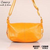 Women's Double Zipper  Mini Messenger Shoulder Bags Leisure Lady Yellow First Layer Cowhide Fashion Bag#HC021