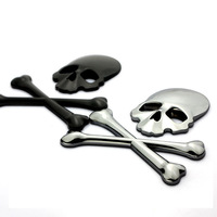New 2014 cool personality 3D skull logo Car sticker ,100% high quality Metal  skeleton car styling body decor stickers,3 colors
