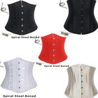 2014 New Black/Red/White/Gold Steel Bone Underbust Corset Steel Boned Women Bustier Waist Training Corselets XS-6XL