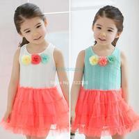 2014 Children dress New girls dress,bow princess dress,Children Yarn+ Lace dress,kids fairy dress high quality 14555 #009