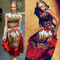High Quality New 2014 Fashion Runway women's Silk Soldiers Print Short sleeve Elegant Maxi Long Vintage brand dress-sz91086