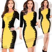 2015 midi Spring winter Women business Patchwork women's office work Bodycon bandage Pencil vintage warm casual womens dress 748