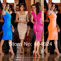 2014 Celebrity Style Women Summer Sleeveless Square Collar Back Full Zipper Bodycon Party  Wear To Work Evening Pencil Dress,5Co