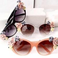 Hotselling New 1pcs/lot Summer Beach Wear roses soft handmade ceramic flower sunglasses for woman/girl  ej670893