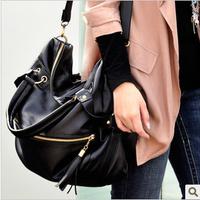 New 2015 EuropeStyle leather solid soft noble tassel shoulder bags handbags women famous brand bolsas femininas casual de marca