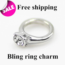 2014 New arrive Ring charms with Rhinestone Floating charms for Glass lockets Living locket charms Wholesale Free shipping
