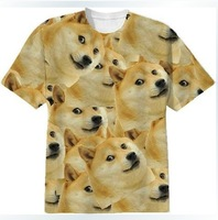 2014 New Women/Men Funny Head doge 3D Short sleeve T-shirt  God dog/shiba inu print 3D Tees Tops plus size