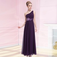 08061  Purple Elegant one shoulder Maxi Prom party Evening Dress