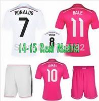 High Quality kits 14 15 Real Madrid Soccer Jerseys+short RONALDO BALE home Football Shirt KROOS JAMES away Soccer uniforms set