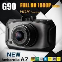 "2014 NEW Ambarella A7 Car DVR G90 Video Recorder  Full hd 1080P 2.7""LCD+HDR+G-Sensor+H.264+Night Vision Video Recorder Dash Cam"