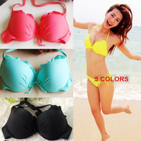 2014 NEW ARRIVAL Very Sexy Push Up Ruffle Padding Halter Strap Side Tie Boning Bikini Set 5 Colors S M L Drop Shipping