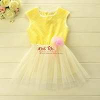 2014 Summer New Arrival Girls Dresses Cotton Dot Top With Odile Gauze Hem And Rose Flower Children Fashion  GD40414-1
