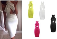 Free Shipping Fashion 2014 Fashion  Cross halter dress  party  Dress FT854