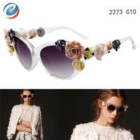 2014 New Summer Fashion Glasses With Flowers Frame Designer Flower Sunglasses Woman de sol oculos Female Beach Sunglasses Women