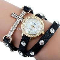 Drop Shipping 10 Colors Fashion PU Leather Wrap Bracelet Cross Watch Chain Women's Wristwatch with Rhinestone