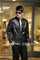 EMS Free Spring 2014 Men Black Plus Size Genuine Leather Sheepskin Short Jackets Overcoat Man Leather Nick Coat Jacket Men D1607
