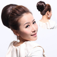 Fashion 10 inches 75G Silk Straight Clip in Beauty Hair Bun Hairpieces Synthetic Big Bride Hair Bun Hepburn's Hair
