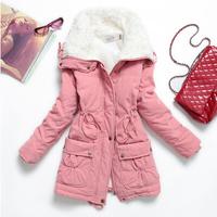 New 2014 Outerwear Women Cotton-Padded Jacket Slim Waist Medium-Long Wadded Jacket Winter Women's Outerwear Thick,Ladies Coat
