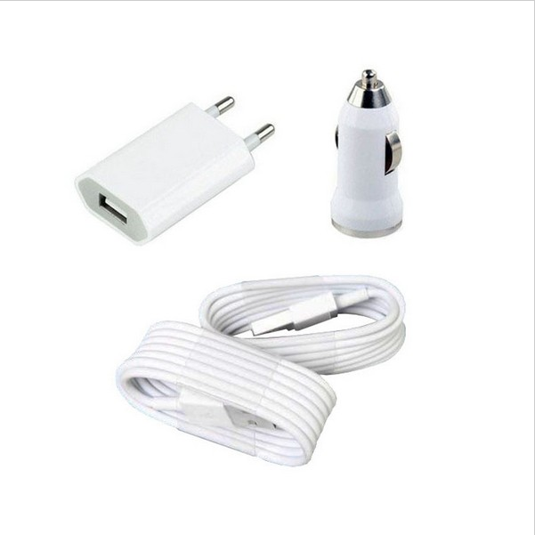 Best sell Free shipping  Home EU AC Wall Charger + car charger + 2 X USB cable for iPhone 5 5S ipad 4 mobile charger XC1024(China (Mainland))