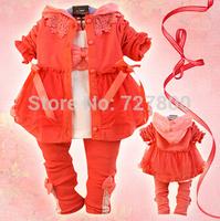 new 2014 girls spring-autumn princess clothing sets 3pcs baby girl dress suit infant costume clothes set wholesale retail
