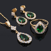 Water Drop Style 18K Gold Plated Earring Necklace Ring Jewelry Set Austrian Green Zircon Ring Sz #8.5 #8 #7.5 #7 #6.5 JS171