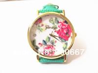 New Fashion Brand GENEVA Platinum Rose Flower Rhinestones Leather Watch Women Ladies Rose Gold Dress Watch Quartz Watches