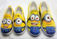 Minions Style Brands Sneakers for Women Casual Shoes Lovers Canvas Snakers Low Parent-child Hand-painted Shoe Size 35-44