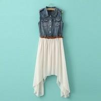 2014 New Fashion Jean Chiffon Patch Work  Women Summer Casual Dress Free Shipping N26613