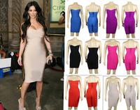 High Quality 2014 New kim kardashian strapless HL women elastic knitted sexy bodycon bandage dress celebrity dress purple cheap