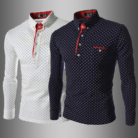 British Fashion Men Shirt Dot 2014 New European Style Men's  Slim Fit Casual  Long Sleeve Shirt Camisa Masculina Navy White T222