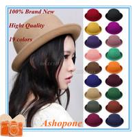 Hot Sale !! 2014 Vintage Women Lady Cute Trendy Wool Felt Bowler Derby Fedora Hat Cap Hats Caps 19 Colors