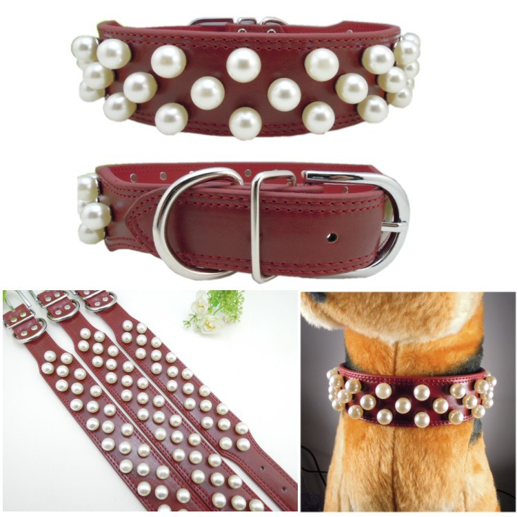 Pitbull collar for dog Red Genuine Leather Material Double Lines Fish shape M L XL Pearls Studded Collar for Large dog Retail(China (Mainland))