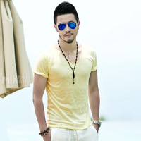 2014 summer sweetheart neckline compassionate bamboo cotton Slim big V-neck short-sleeved t-shirt tide men Y1P2