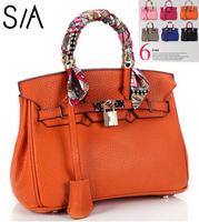 New 2014 women Handbag silk scarf shoulder bag caylee lockbutton platinum genuine leather messenger bags handbags famous brand